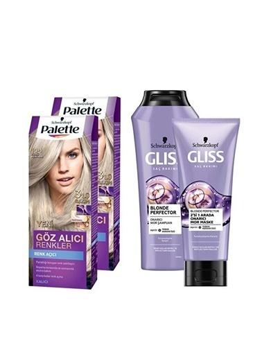 Gliss Gliss Blonde Perfector Şampuan 250 Ml + Palette 2X 101 Küllü Açık Saç Boyası Renksiz